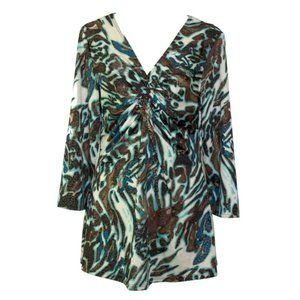 Annalee + Hope V-neck Top Size L Abstract Print Long-sleeve Stretch